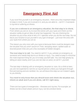 Emergency First Aid Lesson & Review Printables