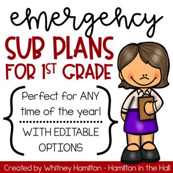 Emergency First Grade Sub Plans + *EDITABLE* Sub Binder or Sub Tub Materials!