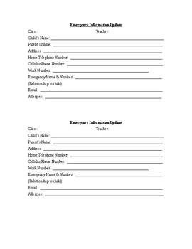 Emergency Information Card