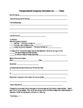Emergency Information Form for Your Students