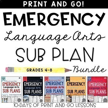 Common core resources lesson plans ccss w54 ela emergency sub plans bundle grades 4 8 fandeluxe Image collections