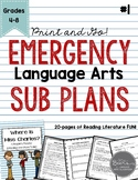 Emergency Language Arts Sub Plans for Grades 4-8 Set #1