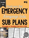 ELA Emergency Sub Plans for Grades 4-8 Set #4