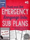 ELA Emergency Sub Plans for Grades 4-8 Set #5