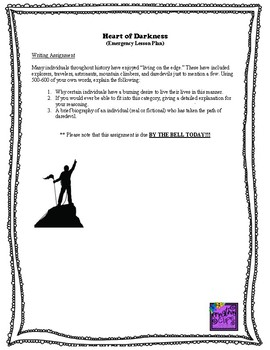 Emergency Lesson Plan (Heart of Darkness)