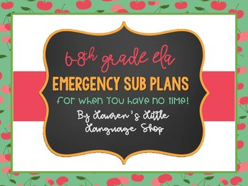 Emergency Substitute Lesson Plans for 6-8th Grade ELA