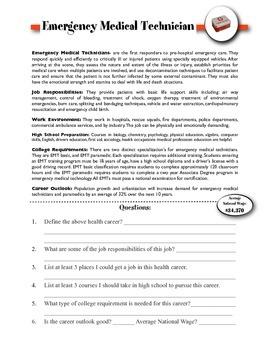 Emergency Medical Technician Information & Worksheet