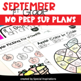 Emergency No Prep Sub Plans for 1st Grade (September)