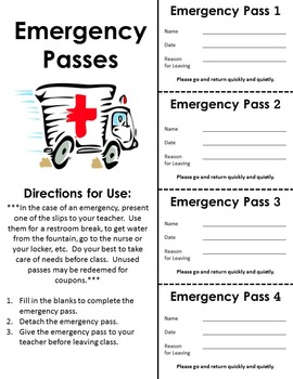 Emergency Pass Printable Sheet For Your Students to Keep
