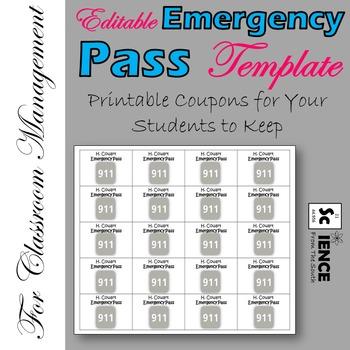Editable Emergency Pass Printable Coupons FREEBIE