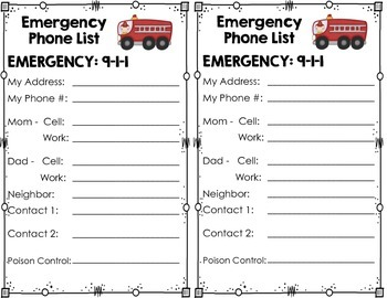 emergency phone list to fill in