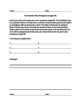 Emergency Preparedness Homework (Editable)