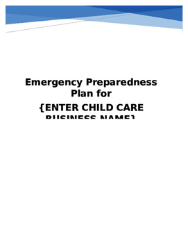 Emergency Preparedness Plan Home Child Care (Iowa Providers)