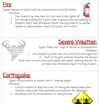 Emergency Procedures Quick Reference for teachers & subs