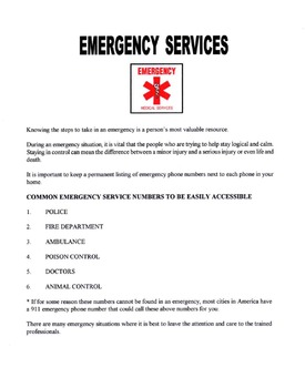 Emergency Services Lesson