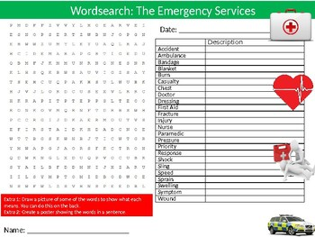 Emergency Services Wordsearch Puzzle Sheet Keywords The Fire Police Service