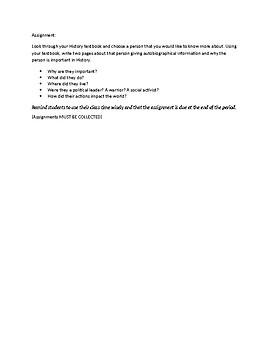 Emergency Sub Lesson Plan #2