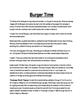 "Emergency Sub Lesson Plan #2 - ""Burger Time"""
