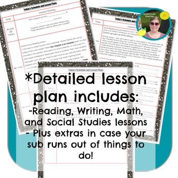 Emergency Sub Lesson Plans No Prep Kindergarten & 1st Gr.