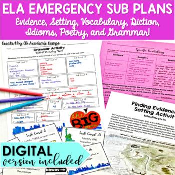 ELA Emergency Sub Plans for Middle School