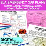ELA Emergency Sub Plans for Middle School DIGITAL and PRINT
