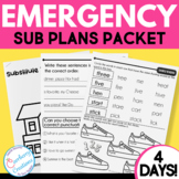 Sub Plans for Emergency Sub Days Grades 1-2