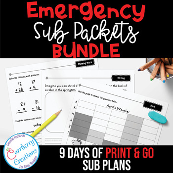 Emergency Sub Plans Packets BUNDLE with 9 Days of Ready To Go Plans