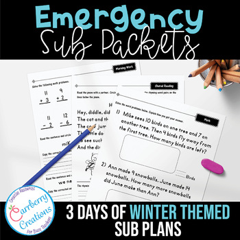 Emergency Sub Plans Packets Days 1-3 Winter Theme
