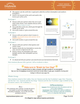 Emergency Sub Plan: 1st Informational Text (NGSS Related) - Seasons and the Sun