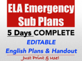 ELA Emergency Sub Plan High School English FULL WEEK bundle