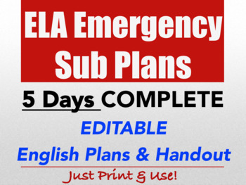ELA Emergency Sub Plan High School English FULL WEEK