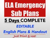 ELA Emergency Sub Plan High School English FULL WEEK