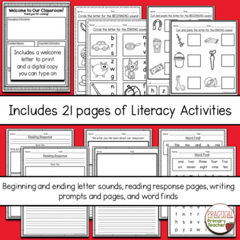 Emergency Sub Plan Materials - First Grade August/September
