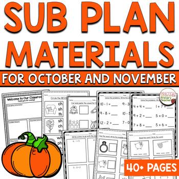 Emergency Sub Plan Materials - First Grade October/November