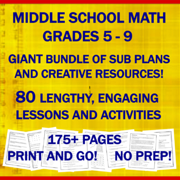 "Middle School Math ""NO PREP"": 55 Emergency Sub Plans & Res"