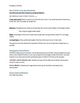 Emergency Sub Plan Outline