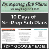 Sub Plans for English Language Arts with 10 Lesson Plans a