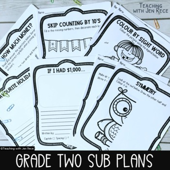 Emergency Sub Plan for Grade 2 - Math & ELA. Canada/Australia/UK English