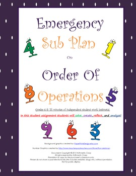 Emergency Sub Plan or Independent Student Assignment on or