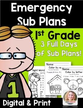 Emergency Sub Plans 1st Grade