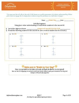 Emergency Sub Plans: 3rd Grade Math: Place Value: Rounding to Nearest 10s & 100s