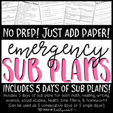 Emergency Sub Plans- 5 days of all subject areas!