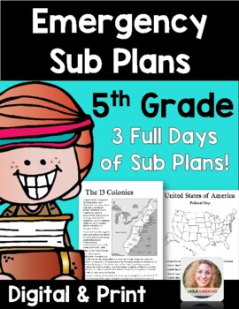 Emergency Sub Plans 5th Grade (Reading, writing, math & science for 3 days!)