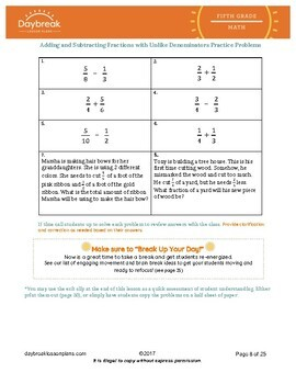 Emergency Sub Plans: 5th Grade Math: Adding/Subtracting Fractions