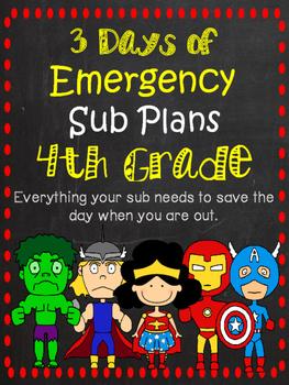 4th Grade Sub Plans - An Emergency Sub Binder
