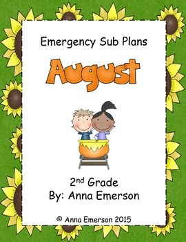 Emergency Sub Plans: August for Second Grade