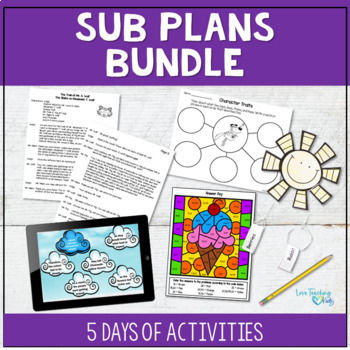Emergency Sub Tub Bundle - 5 Days of Sub Plans for 3rd & 4th grade