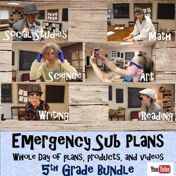 Emergency Sub Plans Bundle- Whole Day-5th Grade
