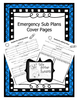 Emergency Sub Plans Cover Pages