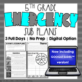 Emergency Sub Plans   Fifth Grade   Back to School